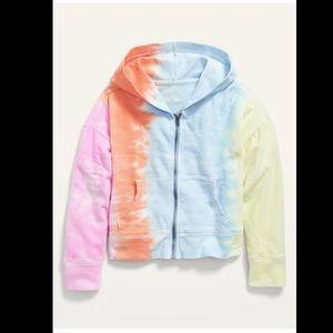 New OLD NAVY Rainbow Tie Dye Hoodie Sweatshirt XXL